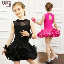 Barnklänning Latin Dance Dress Flickor Lace Latin Dance Suit Elever Akrobatik Kläder Sommar Rumba Danskläder B-5671