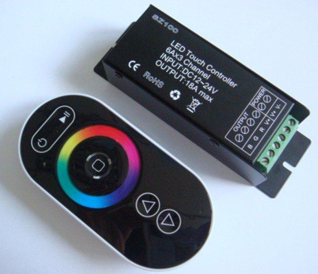 LED RGB сенсорный контроллер, DC12-24V вход, max 6A* 3 выходной канал