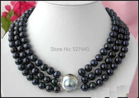 Wholesale jewe321 >>EXQUISITE 3 ROW 9 MM BLACK AAA SOUTH SEA PEARL NECKLACE 18 INCH K