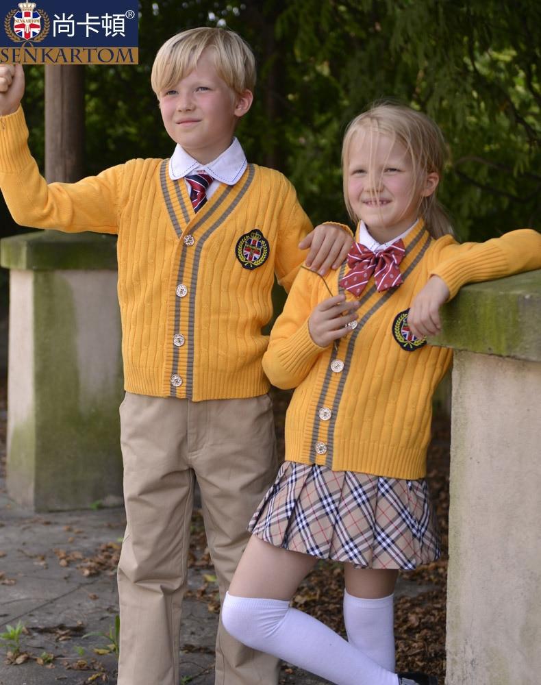 100% cotton girls boys polo sweater suit set school uniform ,fall 2013 baby dress yard , - SENKARTOM Official Store store