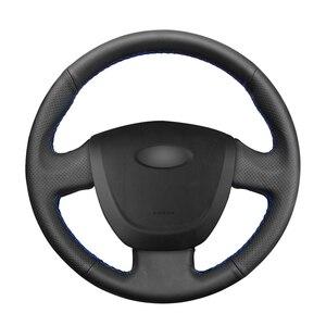 Image 1 - Housse de volant de voiture en cuir artificiel noir cousu main pour Lada Granta 2011 2012 2013 2014 2015 2016 2017 2018
