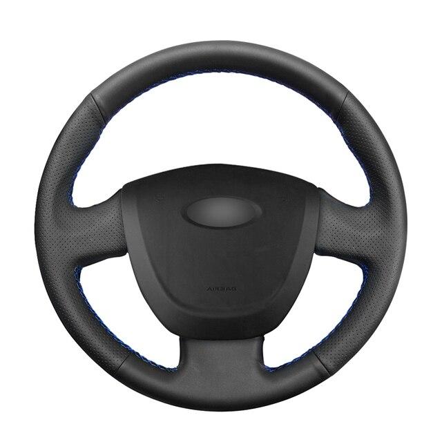 Housse de volant de voiture en cuir artificiel noir cousu main pour Lada Granta 2011 2012 2013 2014 2015 2016 2017 2018