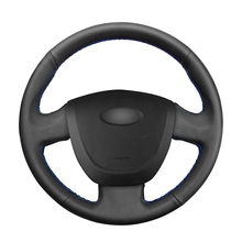 Protector de cuero Artificial para volante de coche Lada Granta, protector de cuero Artificial, color negro de punto, para Lada Granta 2011 2012 2013 2014 2015 2016 2017 2018