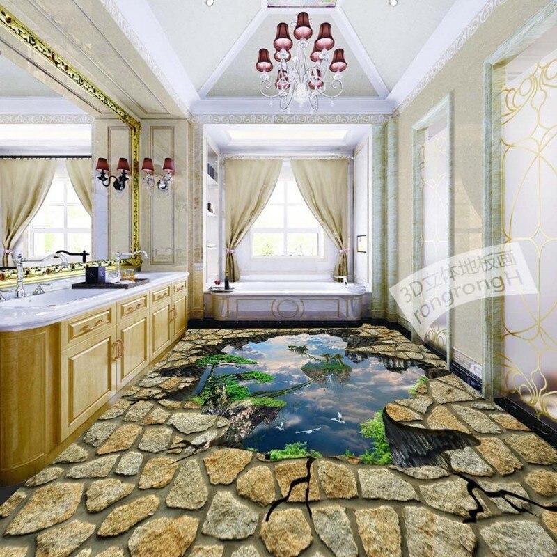 ФОТО Free Shipping 3D Stone Wonderland welcoming pine flooring wallpaper square bathroom non-slip wear floor wallpaper mural