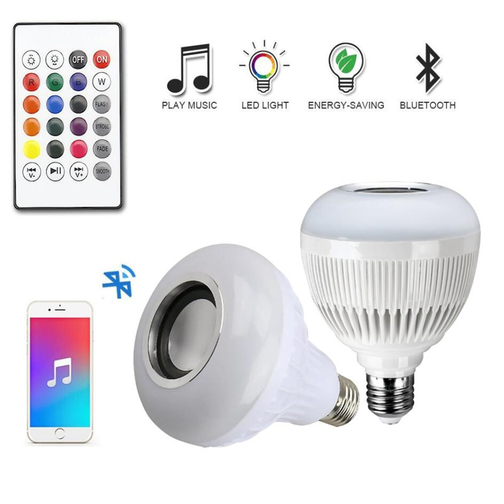 Smart RGB Wireless Bluetooth Speaker Bulb E27 Dimmable Music Playing LED Bulb Light Lamp with 24 Keys Remote Control wireless e27 bluetooth remote control mini smart led audio speaker rgb 9 color light warm bulb music lamp car styling