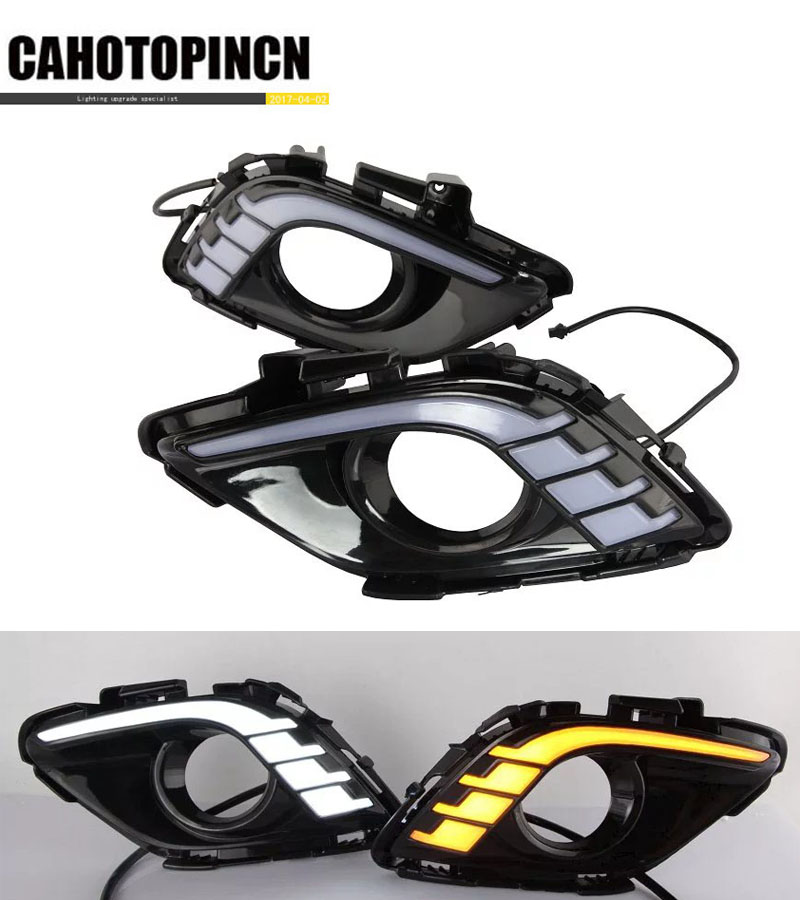 Turning Signal Dimming style relay 12V LED car DRL daytime running lights with fog lamp hole