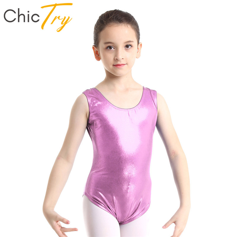 ChicTry Girls Sleeveless Shiny Solid Color Ballet Leotard Children Gymnastics Leotard Sports Bodysuit Kids Stage Dance Costume