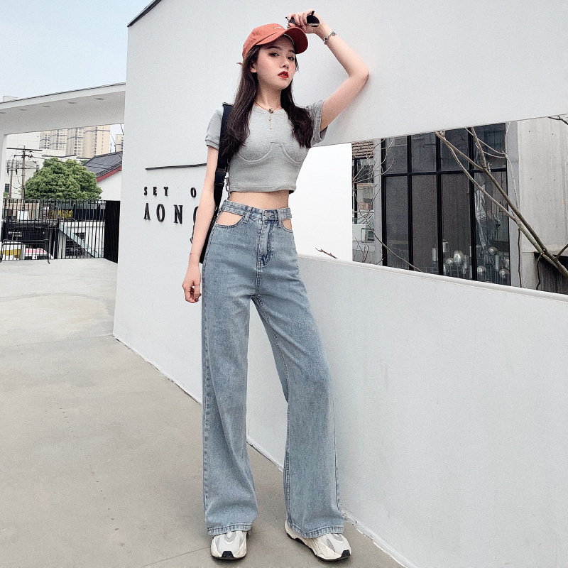 New Arrival Wholesale Woman casual Denim Pants High Waist Women skinny Wide Leg   Jeans     Jeans