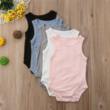 Summer Cotton Bodysuits For Girls Newborn Baby Girl Boy Sleeveless Cotton Bodysuit Jumpsuit Outfits Children One Piece Clothes(China)