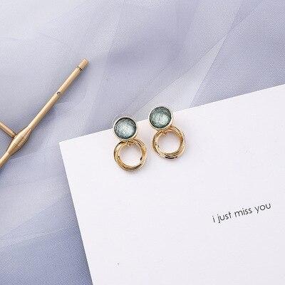 AOMU coréen bleu géométrique acrylique irrégulière cercle creux carré balancent des boucles d'oreilles pour les femmes en métal bosse fête plage bijoux 8