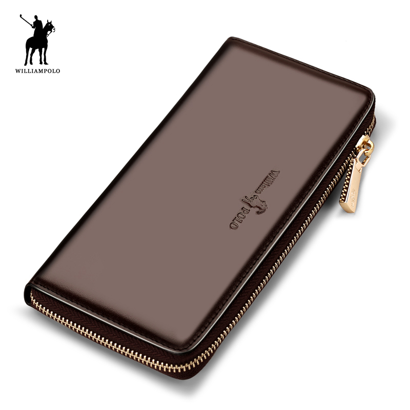 WILLIAMPOLO 2018 Spring New Arrival 100% Leather Original Brand Vintage Zipper 3 Compartments Men Wallet Purse POLO187