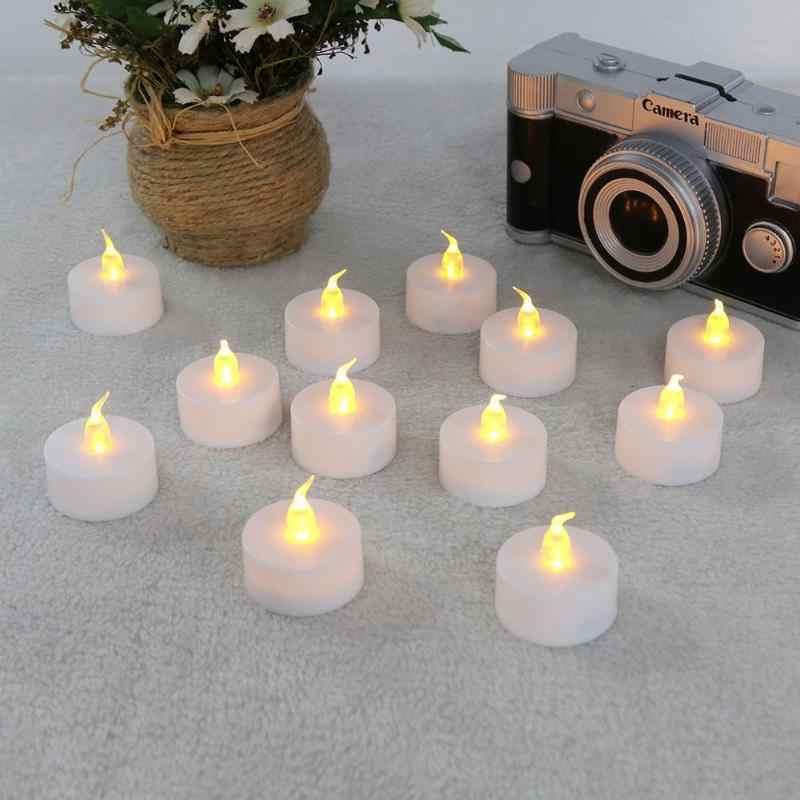 12 Uds solar velas parpadeantes vela LED sin llama parpadeante batería de té luz velas de seguridad fiesta vacaciones boda Navidad