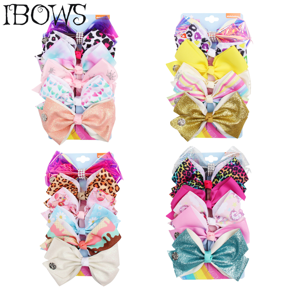 6 Pcs/Set JO Bow Set for Girls 5Handmade Leopard Print Hair Clips Glitter Ribbon Jelly Kids Accessories