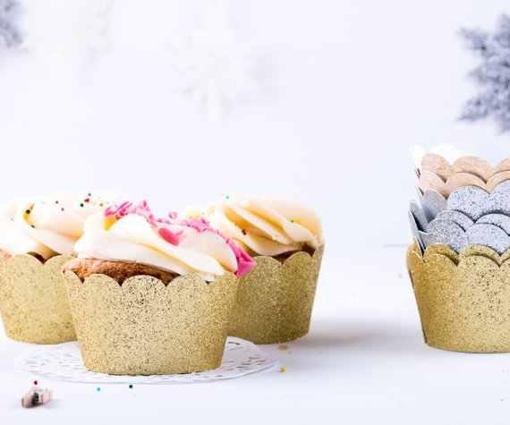 24 Uds envoltorios para cupcakes con purpurina rosa/dorada/plateada envolturas para magdalenas, envolturas para magdalenas, decoración para fiestas, envoltorios para bodas y cumpleaños