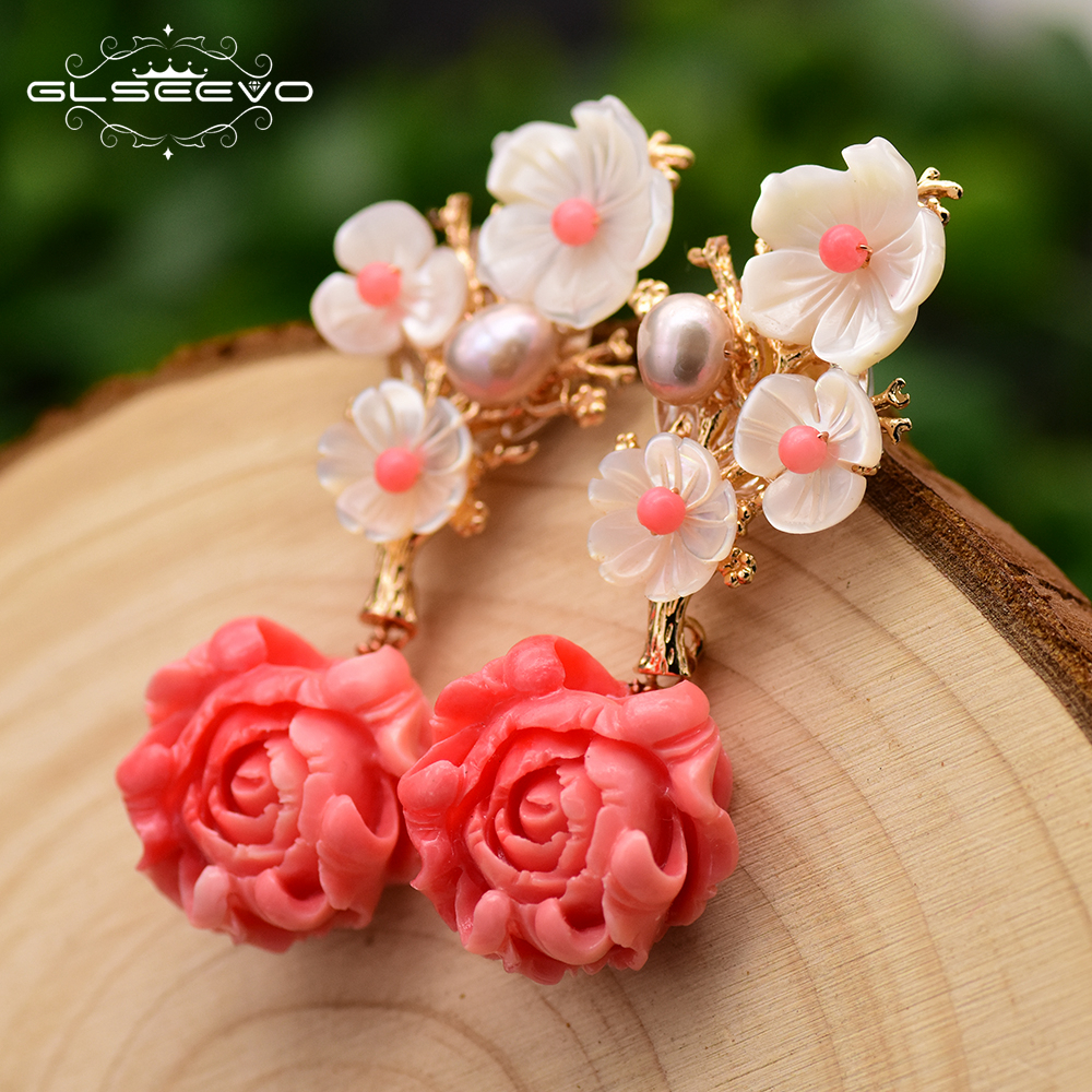 GLSEEVO Real 925 Sterling Silver Pink Coral Drop Earrings White Pearl Pink Natural Stone Shell Flower Dangle Earrings GE0024GLSEEVO Real 925 Sterling Silver Pink Coral Drop Earrings White Pearl Pink Natural Stone Shell Flower Dangle Earrings GE0024