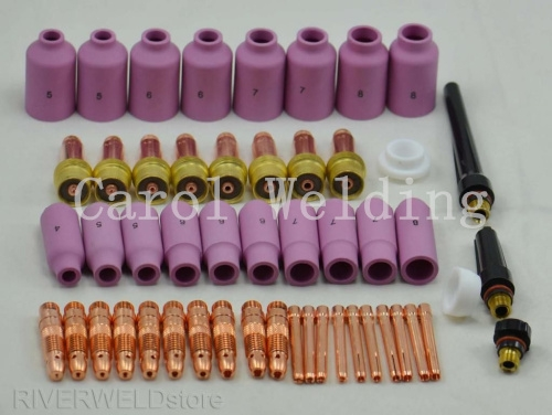 Promotion! TIG Gas Lens KIT Nozzle Collet Body Welding materials Long custom FIT WP 17 18 26 Series, 51PK