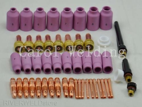 Promotion! TIG Gas Lens KIT Nozzle Collet Body Welding materials Long custom FIT WP 17 18 26 Series, 51PK стоимость