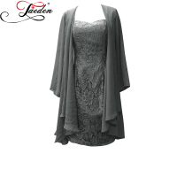 JAEDEN Cheap Grey Short Mother of the Bride Dresses Lace with Chiffon Sleeved Jacket 2017 HW031 Sweetheart Neck Women Dresses
