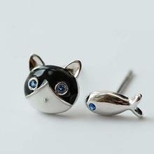 Fashion design earring copper silver plating earring 925 silver mini cat and fish shape earring not symmetry earring
