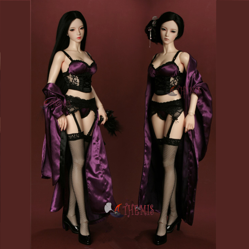 Athemis sexy doll outfit purple black set bra stocking coat custom made size for Silicone doll