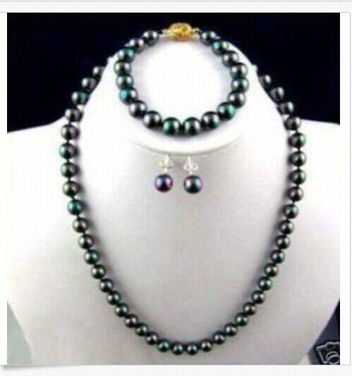 Set 10-11mm dacqua dolce nero perla verde collana 18 inch dellorecchino del braccialettoSet 10-11mm dacqua dolce nero perla verde collana 18 inch dellorecchino del braccialetto