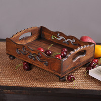 Retro Originality Thailand Import Living Living Room Teak Creative Fruit Plate Hand Carved Sugar Storage Trays