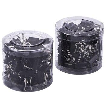 80 шт Мини-металлические биндеры-скрепки для бумаги, черный + серебристый (19 мм)