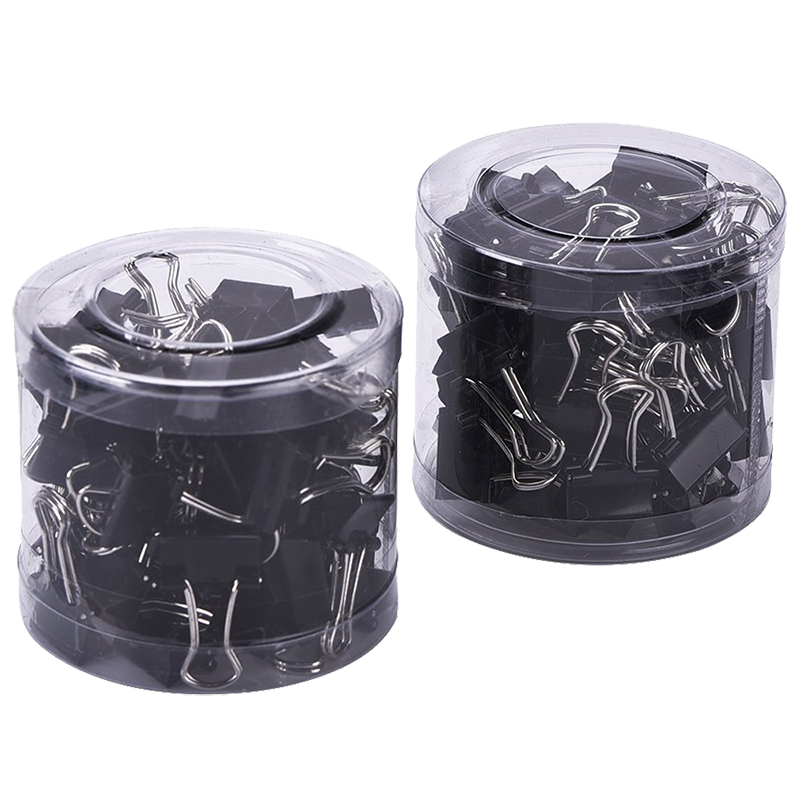 80PCS Mini Metal Paper Binder Clips, Black+Silver (19 Mm)