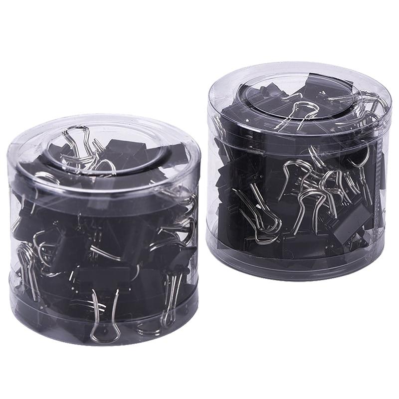 80PCS Mini Metal Paper Binder Clips, Black+Silver (19 Mm)
