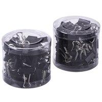 80PCS Mini Metal Paper Binder Clips  Black+Silver (19 mm)