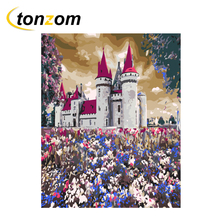 RIHE Night Castle Diy Painting By Number Flower Field Oil On Canvas Hand Painted Cuadros Decoracion Acrylic Paint Art