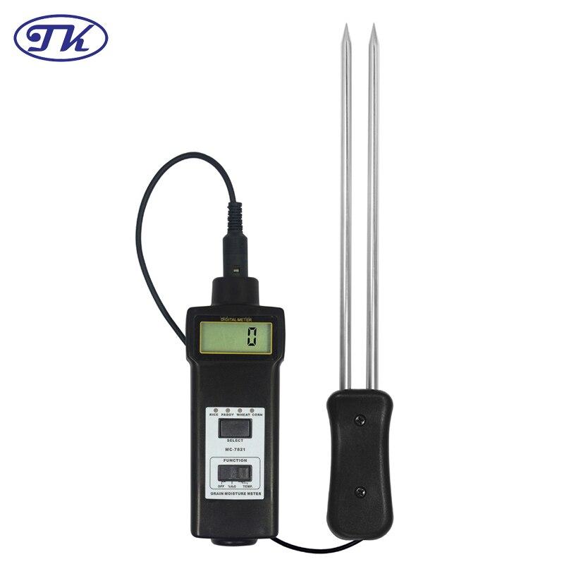 MC7821 Grains,Paddy, Rice, Corm, Wheat, Moisture Meter Tester Resolution:0.1 mc 7806 wholesale retail moisture meter pin type moisture tester
