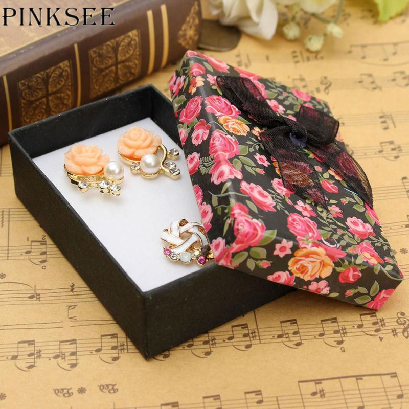 PINKSEE 1Pc Lace Bowknot Flower Pattern Paper Jewelry Storage Box Packing Gift Necklace Ring Earrings Display Case Holder