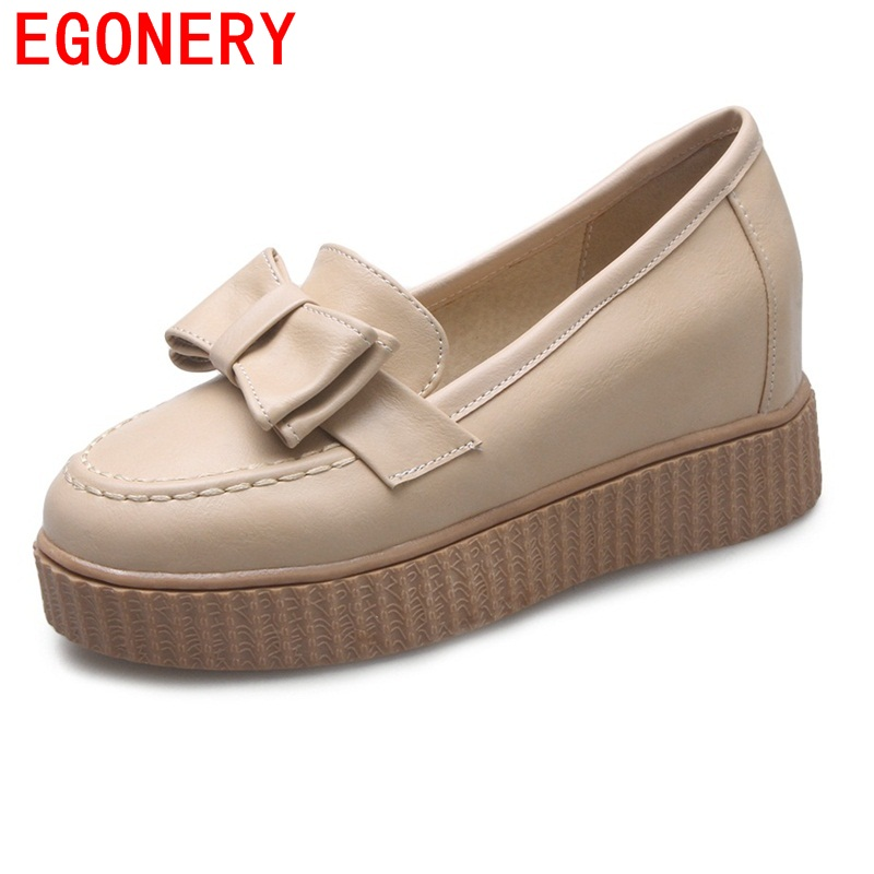 EGONERY shoes 2017 spring and autumn concise wedges butterfly-knot pumps simple lace-up sweet round toe women fashion high heels xiaying smile woman pumps shoes women spring autumn wedges heels british style classics round toe lace up thick sole women shoes