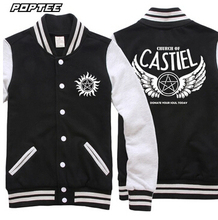 Hot Supernatural cosplay costume wings CASTIEL angel jacket baseball coat sweater