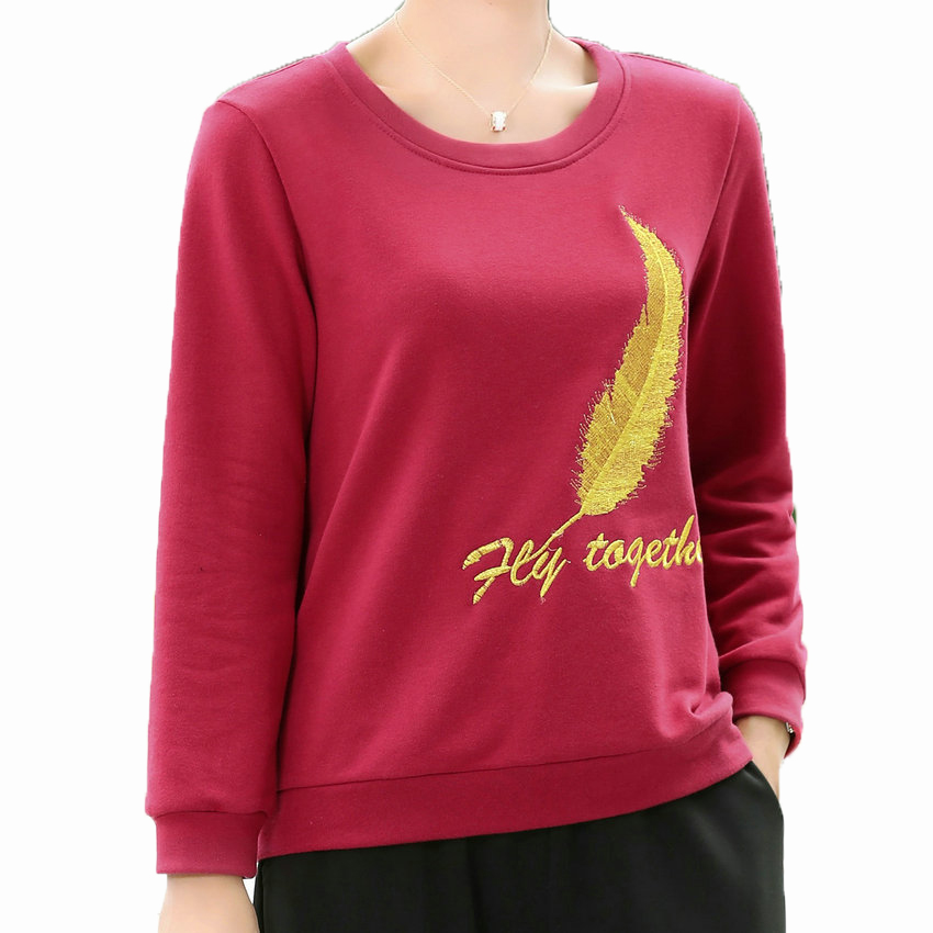 Women Autumn Sweatshirts Feather Pattern Embroidery Design Red Black Pullovers Female Casual Top For Woman Pullover Shirt 2019 in Hoodies amp Sweatshirts from Women 39 s Clothing