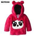 Детские Куртки и Пальто осень зима теплая животных стиль куртки пальто ватки коралла вышивка толстовка верхняя одежда