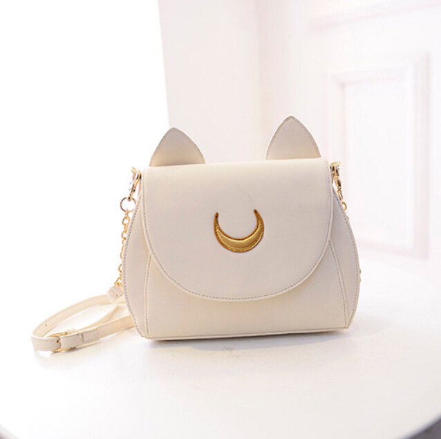 Women Shoulder Bag Black Leather Small Sailor Moon Chains Sling ...