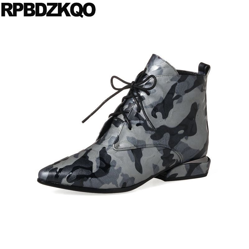 Booties Autumn Boots Ankle Camouflage High Quality Lace Up Fall Gray Genuine Leather Designer Shoes Women Luxury 2017 Pointed