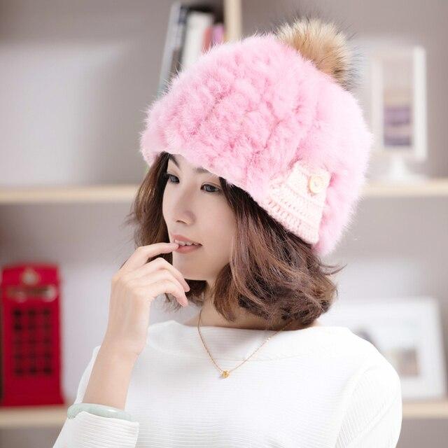 Chica sombrero de Piel de Conejo 100% Angola Piel Warm winter Fashion Caps  sombreros de 7a364a180ae