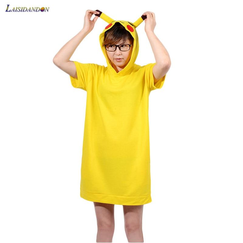 Women s Pikachu Sleepshirts Short Sleeve Ladies Nightgowns Cotton Dressing  Gown For Women Summer Dress Nightwear Unicorn Pijama fd8943828