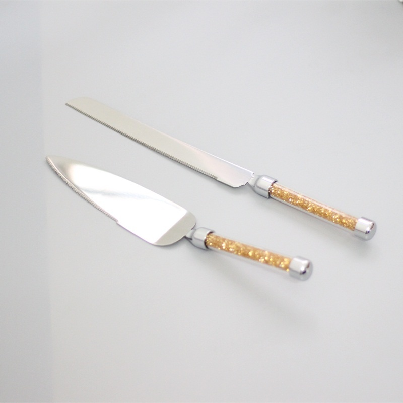 stainless steel 18/8 wedding cake knife and server set with gold handle gift box cake knife set birthday gifts