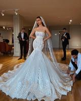 2019 New Sexy Mermaid Strapless Wedding Dress Backless Illusion Corset Lace Up Bridal Gown With Chapel Train Vestido de noiva