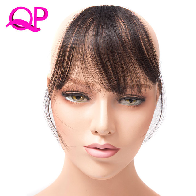 Qp Hair Front On Bangs Brown Black Blonde One Piece Only Fringe Extensions Kanekalon
