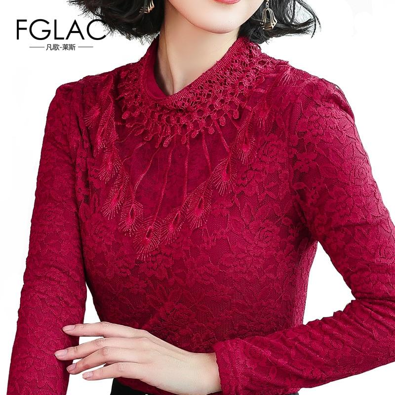 FGLAC Women's long sleeve Autumn lace tops Fashion Casual Turtleneck Women   blouse     shirt   plus size office work   shirt   5XL blusas