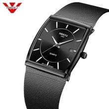 NIBOSI גברים של שעונים נירוסטה רצועת רשת שחור שעון יד עסקים Creative כיכר שעונים זכר שעונים Relogio Masculino
