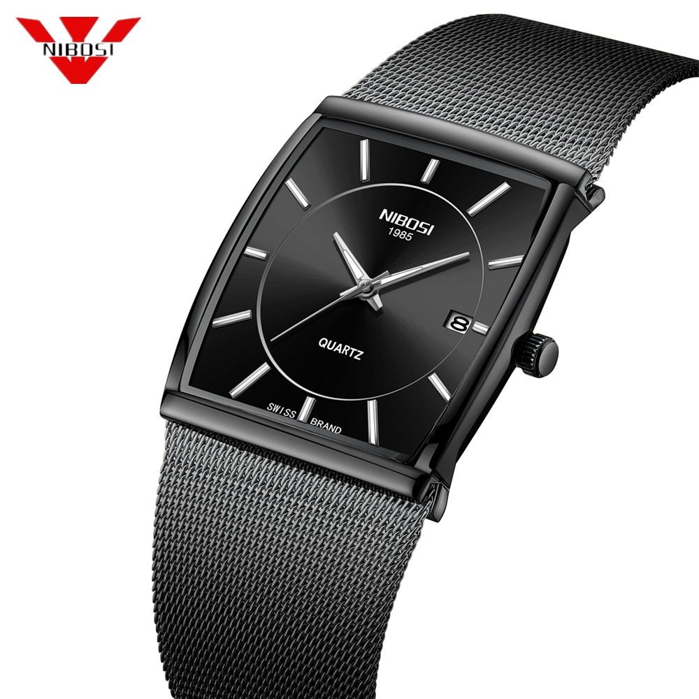 NIBOSI Men's Watches Stainless Steel Mesh Strap Black Wrist Watch Business Creative Square Watches Male Clocks Relogio Masculino