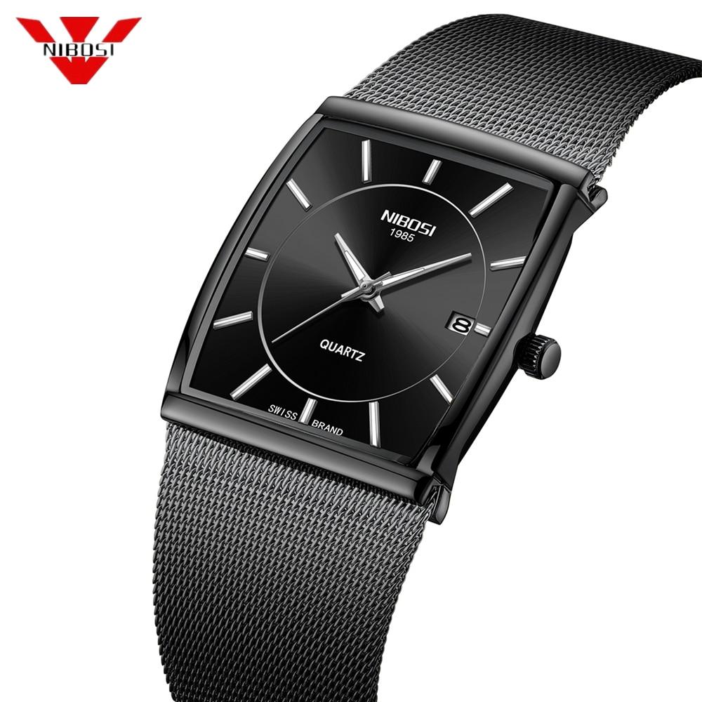 NIBOSI Men's Watches Stainless Steel Mesh Strap Black Wrist Watch Business Creative Square Watches Male Clocks Relogio Masculino