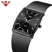 NIBOSI montres hommes en acier inoxydable maille bracelet noir montre bracelet affaires créatif carré montres hommes horloges Relogio Masculino