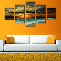 5 פנלים השמש שוקעת Unframe תמונת גל ים HD יצירות אמנות ציור הדפס בד ציור קיר אמנות בד סיטונאי